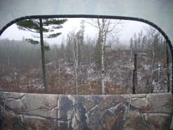 view from hunter stand - trees and snow outside - window shows inside flap